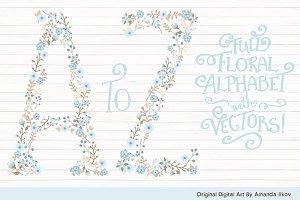 Soft Blue Floral Alphabet Clipart