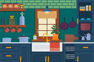 Kitchen with furniture. Cozy room interior with table, stove, cupboard and dishes. Flat style vector illustration.Vector illustration of kitchen interior.