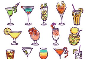Cocktail glasses sketch set