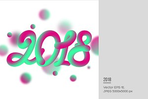 3d numeric 2018 with fluid effect.