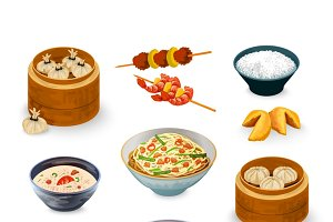 Asian food decorative icons set
