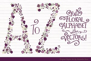 Deep Plum Vector Floral Alphabet