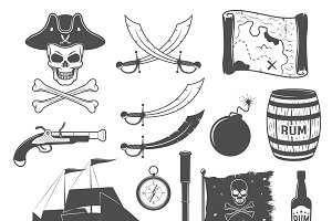 Pirates Monochrome Elements Set
