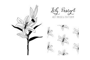 Lily Design. Art Brush & Pattern