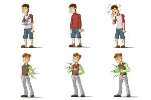 Disease man flat characters set