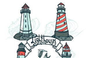 Lighthouses sketch set