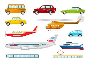 Transport icons flat set