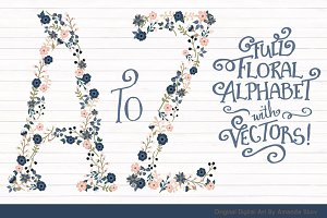 Navy & Blush Floral Alphabet Vectors