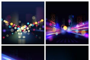 Night city blur backgrounds set