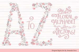 Pink & Grey Floral Alphabet Vectors