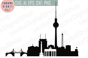 Berlin Germany vector skyline