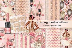 NYE fashion seamless pattern pack