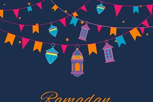 Ramadan lanterns garland pattern