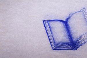 Retro school drawing of opened book on vintage card