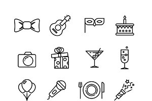 Birthday party vector icons