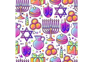 Happy Hanukkah celebration seamless pattern with holiday objects