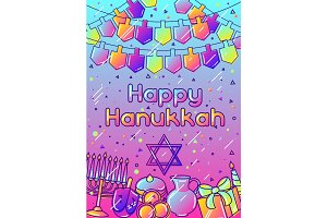 Happy Hanukkah greeting card with holiday objects