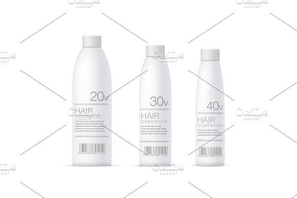 White Realistic Cosmetics Bottles