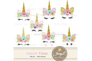 Unicorn Faces Clipart