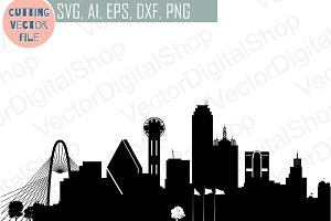 Dallas vector Texas USA skyline