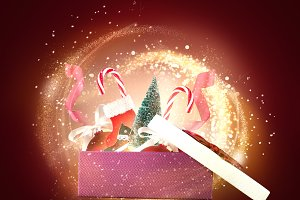 Giftbox with Christmas objects