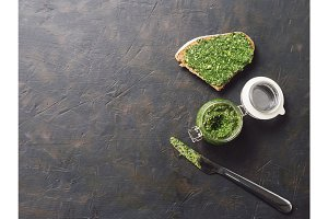 whole grain rye bread with fresh pesto
