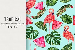 Pink flamingos tropical pattern