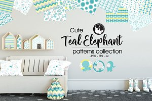 TEAL ELEPHANT Pattern collection