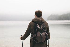 Anonymous trekker exploring views of lake