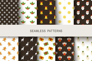Seamless New Year's patterns
