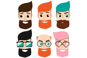 Male avatars. Cartoon man faces