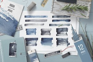 Watercolor Indigo Textures Set
