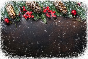 Christmas background with snow frame.