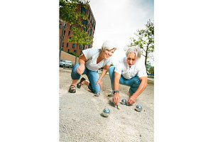 Senior Couple Playing Boule
