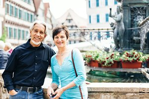 Senior Couple Walking Through The Streets Of Tuebingen,