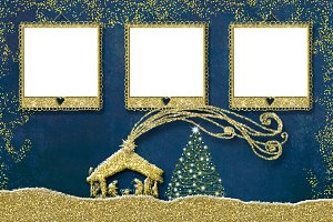Christmas 3 photo frames card