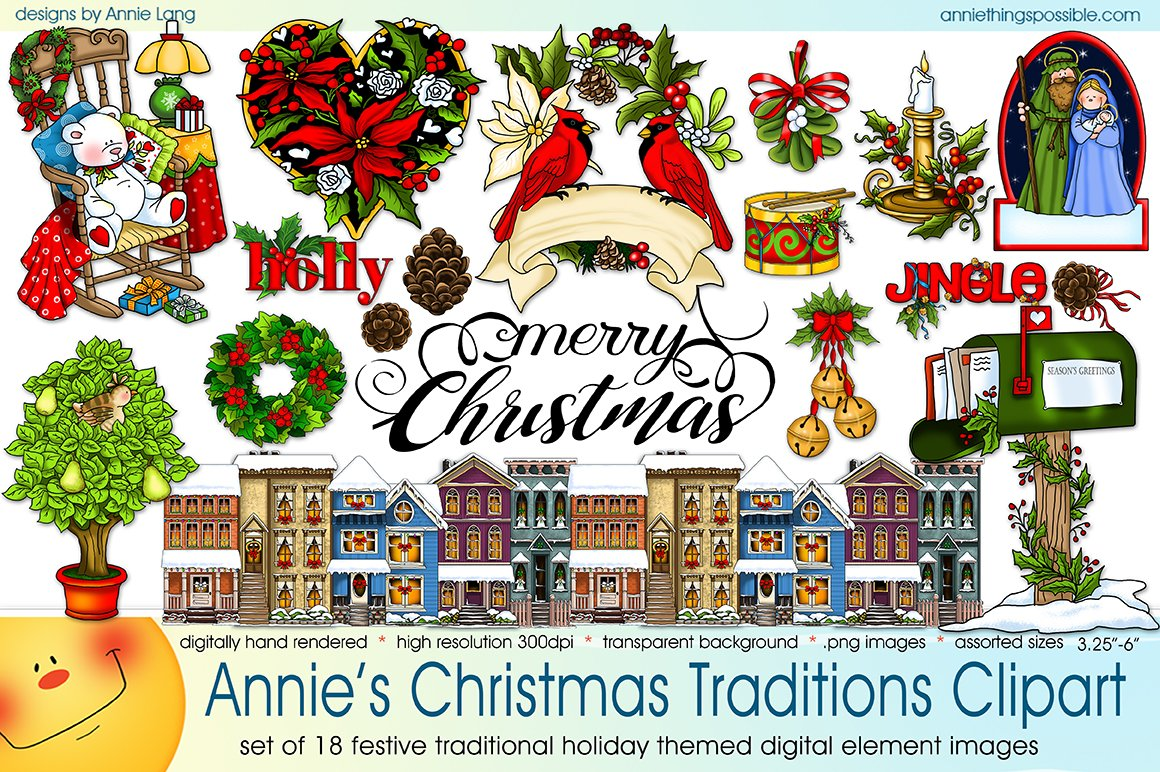 Annies Christmas Traditions Clipart Illustrations Creative Market