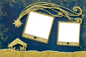 Christmas  2 photo frames cards