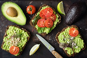 Healthy green veggie avocado toast