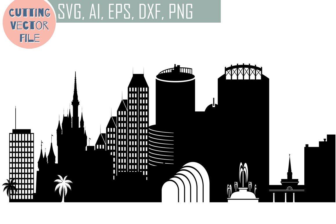 Orlando Vector Florida Usa Skyline Illustrations