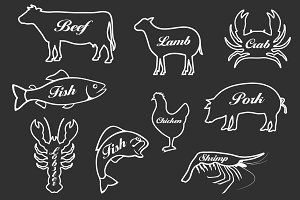 Wedding Meal Choice Icons Clipart ~ Graphic Objects ...