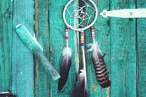 Vintage dream catcher and horseshoe