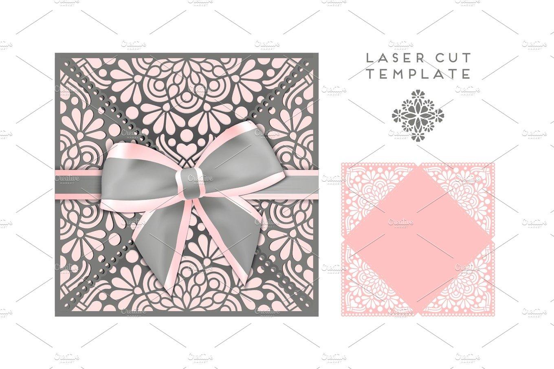 Vector wedding card laser cut template ~ Illustrations ~ Creative Market