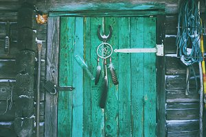 Vintage door with dream catcher