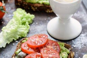 Healthy green veggie sandwiches