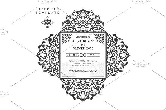 Vector wedding card laser cut template