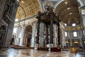 Inside view of Saint Peter's Basilica , Rome , Italy .