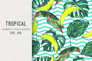 Tropical leaves,bananas pattern