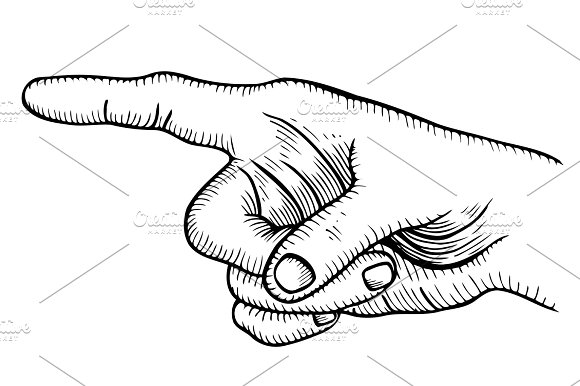 Pointing hand finger. in Illustrations