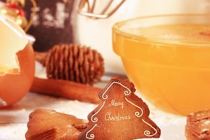 christmas background baked ginger cookies